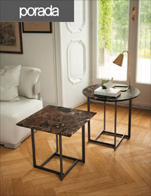 Porada Londra Small Tables in Brushed Anthracite and Emperador Dark
