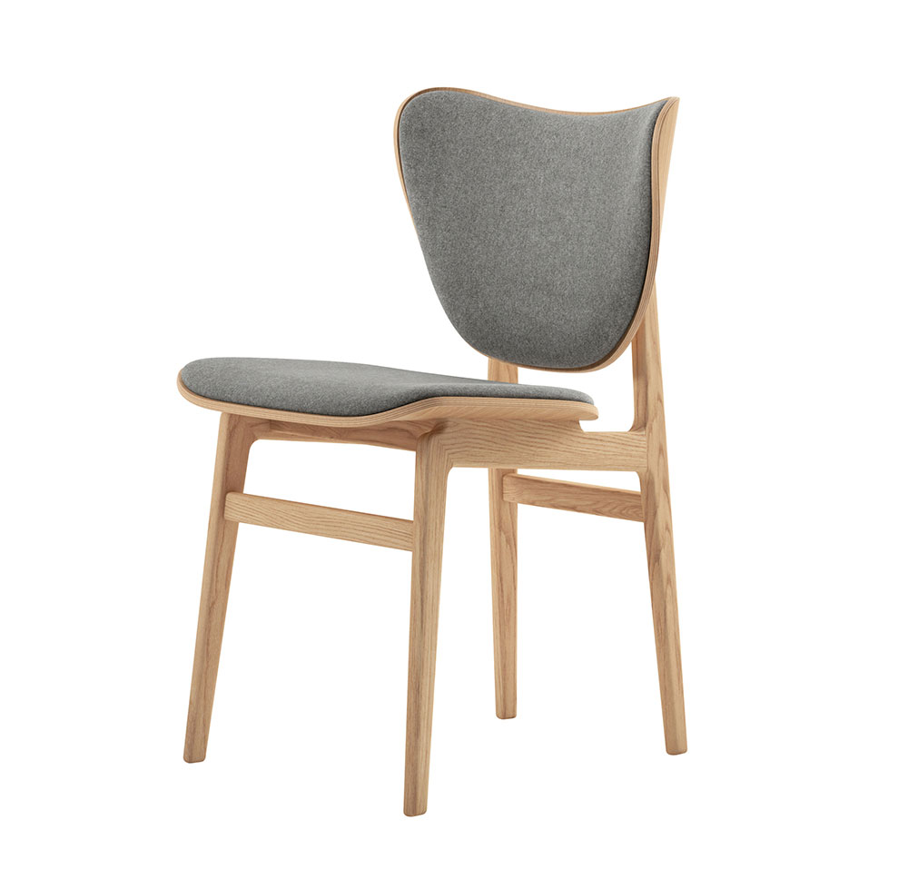 Norr11 Elephant Dining Chair in Natural Oak, Light Grey Wool